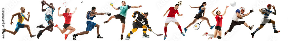 Creative collage of sportive models running and jumping. Advertising, sport, healthy lifestyle, motion, activity, movement concept. American football, soccer, tennis volleyball box badminton rugby
