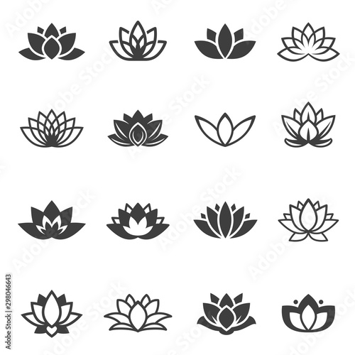 Fotografia Lotus flowers black glyph and linear icons vector set