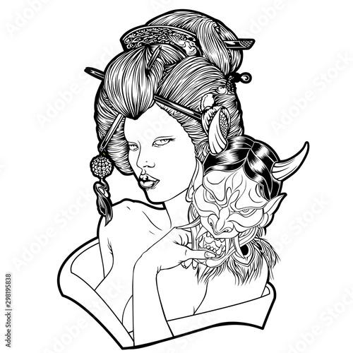 Fotografia, Obraz Geisha Devil Mask Girl Beautiful Japan Vector