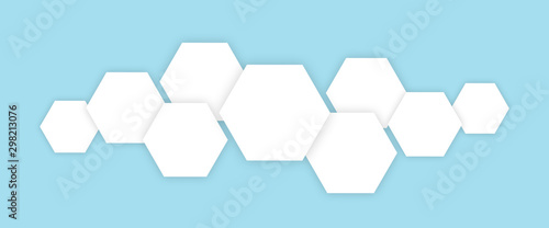 Polygons technology white cells in blue background