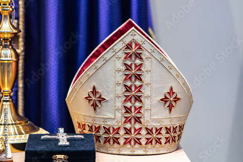 Fototapeta Mitre or miter, traditional ceremonial head-dress of bishops and certain abbots