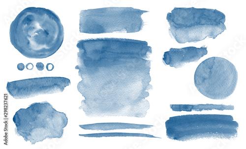 Obraz na plátně Navy blue watercolor stains Invitation design Set of brush strokes