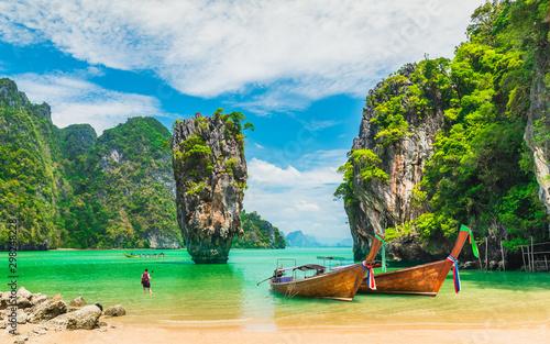 Stampa su Tela Amazed nature scenic landscape James bond island with boat for traveler Phang-Ng