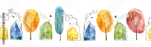 Seamless pattern with hand painted watercolor village. Houses and trees isolated on white background.