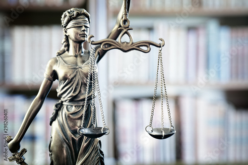Canvas Print Legal and law statue of Lady Justice scales of justice and books