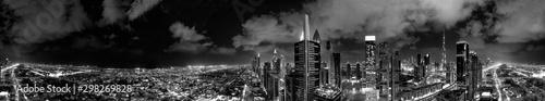 Aerial view of Dubai buildings at night, United Arab Emirates
