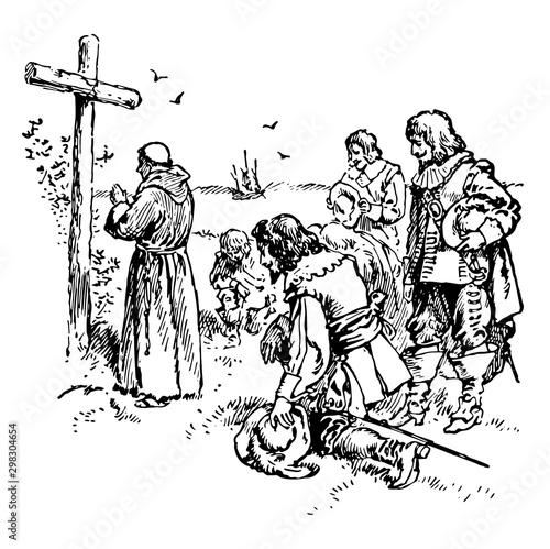 Catholics vintage illustration Fototapete