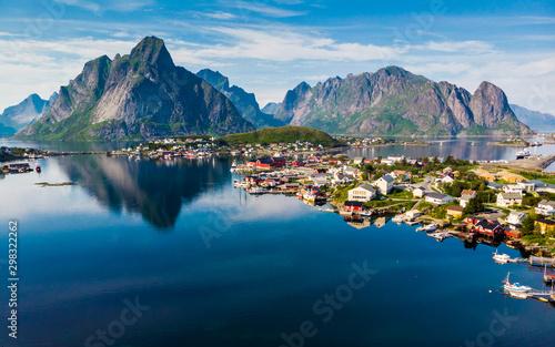 Stampa su Tela Fjord and mountains landscape. Lofoten islands Norway