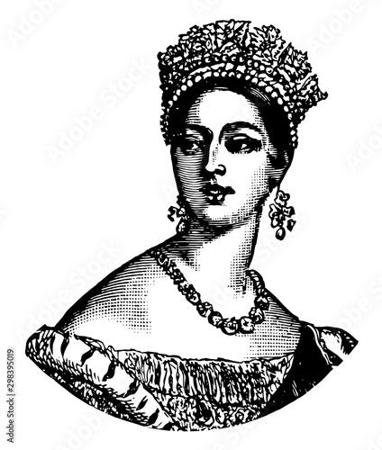 Fotografie, Obraz Queen Victoria, vintage illustration