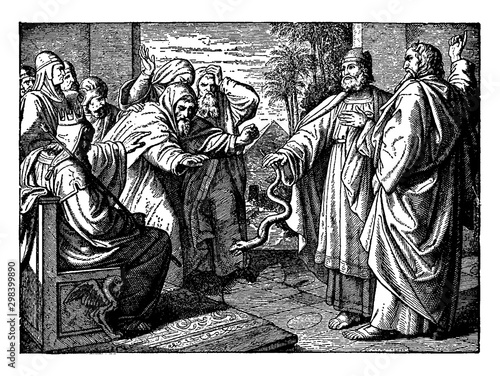 Obraz na płótnie Aaron's Rod Turning into a Serpent Before Pharaoh and His Magicians vintage illustration