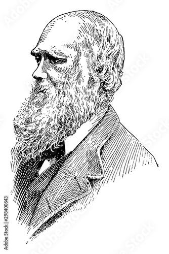 Fotografiet Charles Darwin, vintage illustration