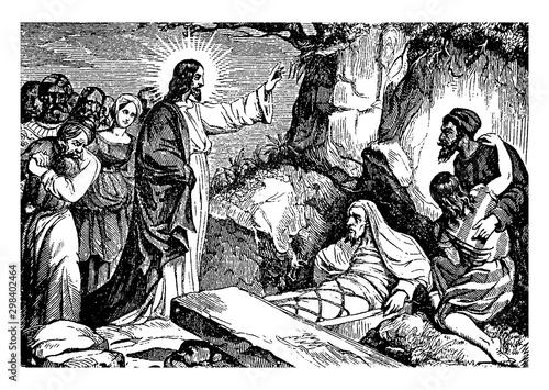 Obraz na plátně Jesus Resurrects Lazarus of Bethany vintage illustration.