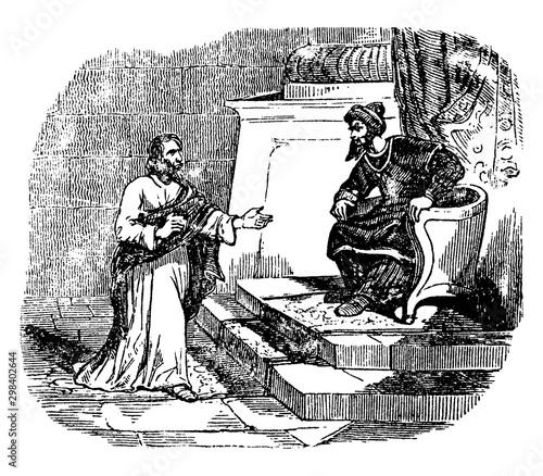 Fotografia Joseph of Arimathaea Asks for the Body of Jesus vintage illustration