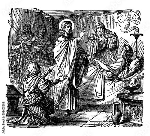 Obraz na plátne The Raising of Jairus' Daughter - Jesus Brings a Young Girl Back to Life vintage illustration