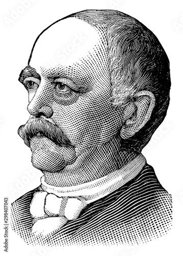 Tableau sur Toile Prince Bismarck, vintage illustration