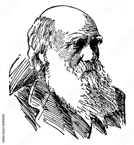 Charles Robert Darwin, vintage illustration Fototapet