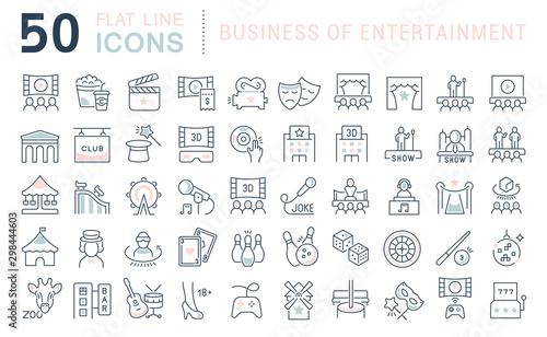 Fotografía Set Vector Line Icons of Entertainment Business