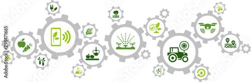 Valokuva smart farm / agriculture technology / agritech icon concept – vector illustratio