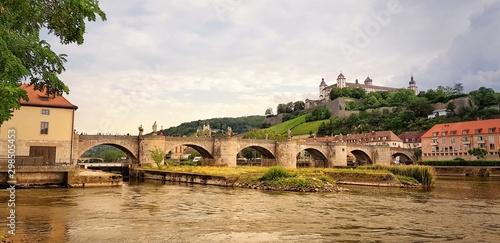 Old Main bridge in Würzburg in vintage look
