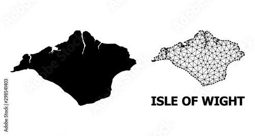 Canvas Print Solid and Wire Frame Map of Isle of Wight