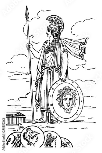 Photo Minerva vintage illustration.