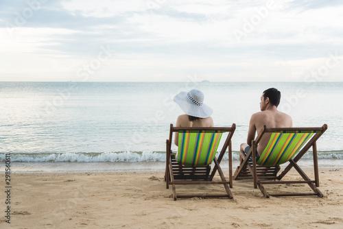 Leinwand Poster Couple luxury family travel relax