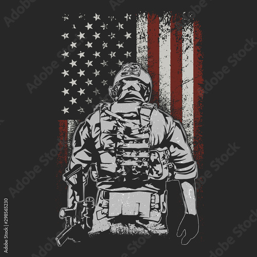 Fotografie, Obraz american soldier on battlefield illustration vector