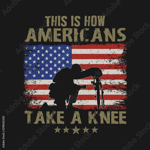 Fotografia, Obraz americans take a knee illustration vector
