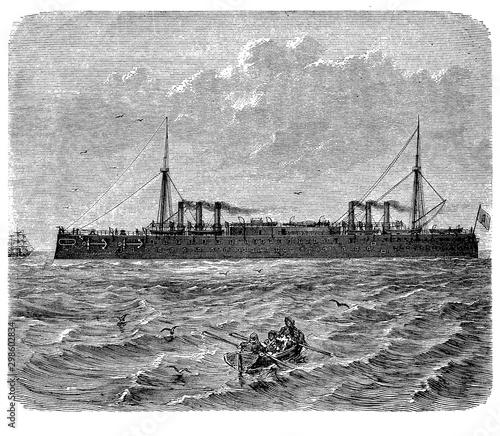 Fotografia Italia first class ironclad battleships built for the Italian Regia Marina desig