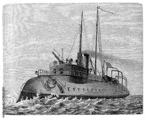 Stampa su Tela Tigre French ironclad battleship ram of 1871 with an underwater armoured beak at