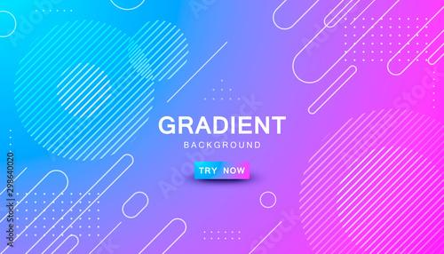 Fotografia, Obraz blue and pink gradient geometric shape background