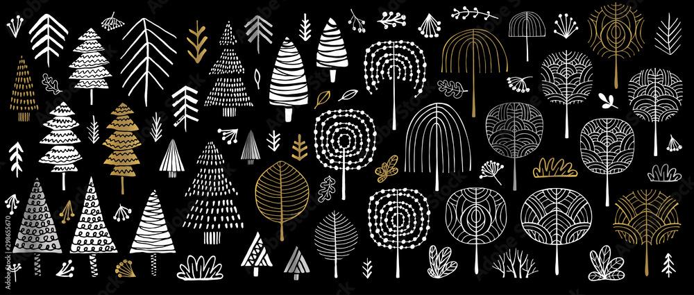 Drzewo choinki krzewy las kolor złoty pociągnięcia pędzlem szkic markery długopis. Kolekcja kwiatów różnych roślin krzew kwiatowy liść. Ręcznie rysowane ilustracji wektorowych. <span>plik: #298655670   autor: Iraida Bearlala</span>