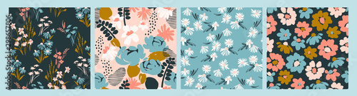 Photo Floral abstract seamless patterns