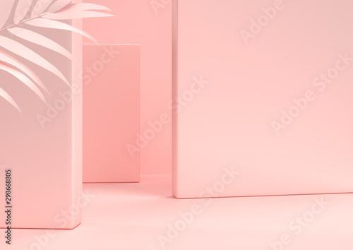 Scena z naturą dla gabloty wystawowej lub produktu kosmetycznego prezentaci, w różowych pastelowych kolorach, 3d rendering.