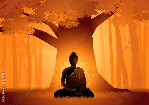Siddhartha Gautama enlightened under Bodhi tree Fototapeta