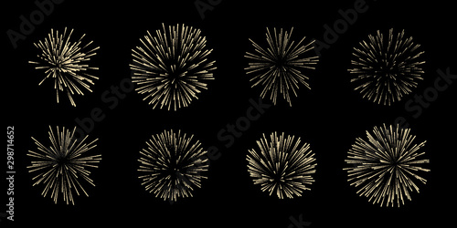 Canvas Print Vector set of eight fireworks isolated on black background.