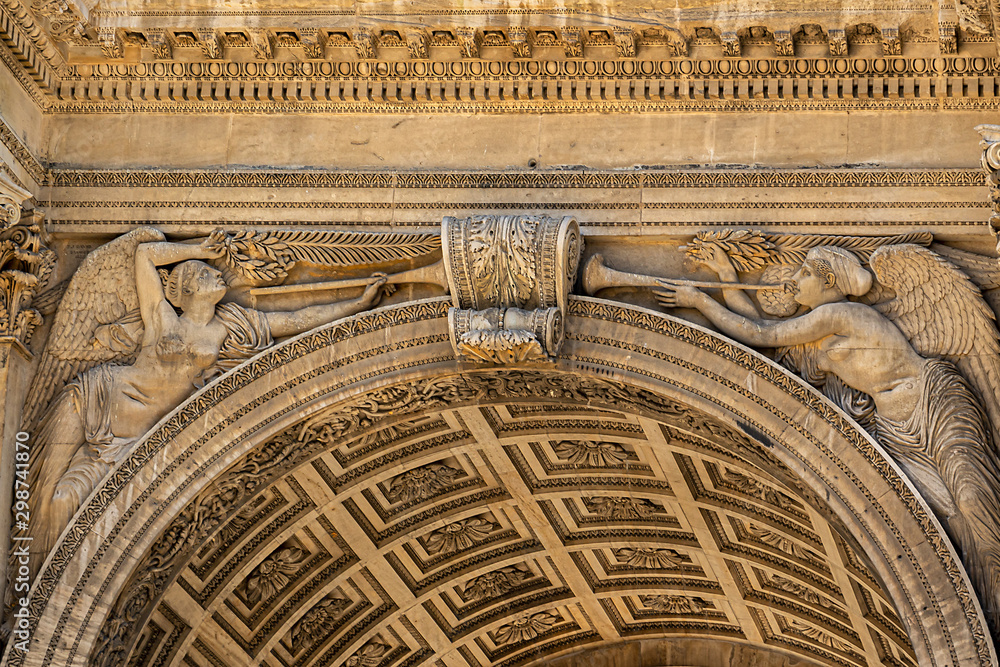 Porte Royale (Royal Door, 1784 - 1839) - triumphal arch in Marseille, France. {Inscription: To the Republic of Marseille Grateful} <span>plik: #298741870   autor: dbrnjhrj</span>
