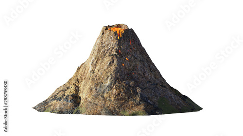 Photo volcanic eruption, lava coming down a volcano, isolated on white background