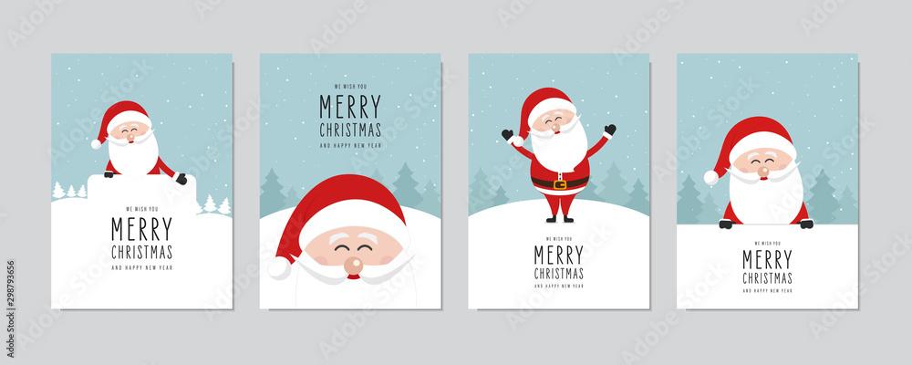 Zestaw kartek świątecznych. Wesołych Świąt i szczęśliwego nowego roku pozdrowienia z wektor ładny Święty Mikołaj. <span>plik: #298793656 | autor: Pixasquare</span>
