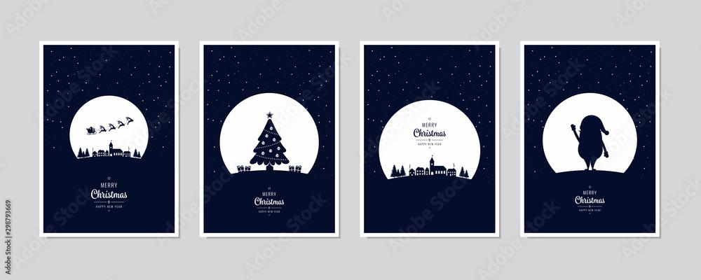 Wesoło kartka bożonarodzeniowa Santa sania nocy ustalonego powitania drzewny tekst pisze list błękitnego śnieżnego nocy tła wektor. <span>plik: #298793669 | autor: Pixasquare</span>