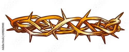 Fotografia Crown Of Thorns Jesus Christ Side View Ink Vector