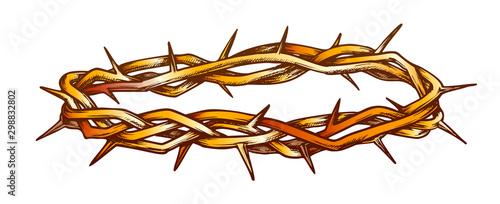 Vászonkép Crown Of Thorns Religious Symbol Color Vector