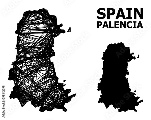Wire Frame Map of Palencia Province