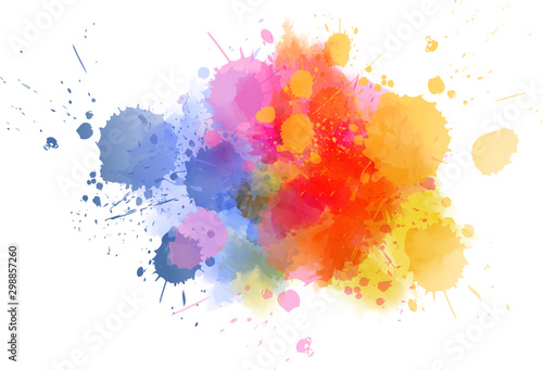 Fotografie, Obraz Multicolored splash watercolor blot