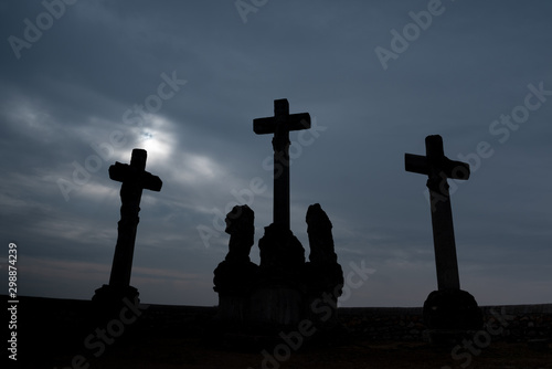 Obraz na plátne Crosses on the Calvary Hill in Tata, Hungary