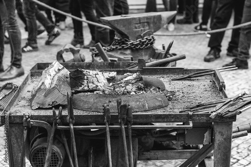 Forge workshop at street fair Fototapeta