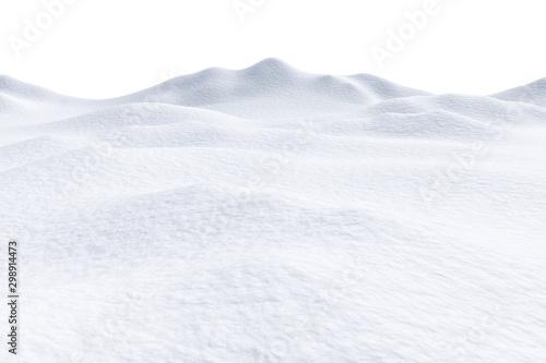 Śnieżni wzgórza odizolowywający na białym tle