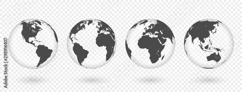 Set of transparent globes of Earth. Realistic world map in globe shape with transparent texture and shadow #298916407
