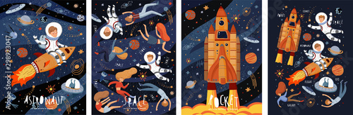 Space! Vector cute illustration of an astronaut, spaceship, rocket, alien, UFO, sky and people for background, card or poster. Children's drawings of the starry sky and galaxy.
