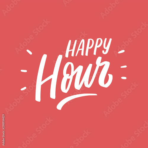 Canvastavla Hand drawn lettering happy hour for banner, card, poster, sale